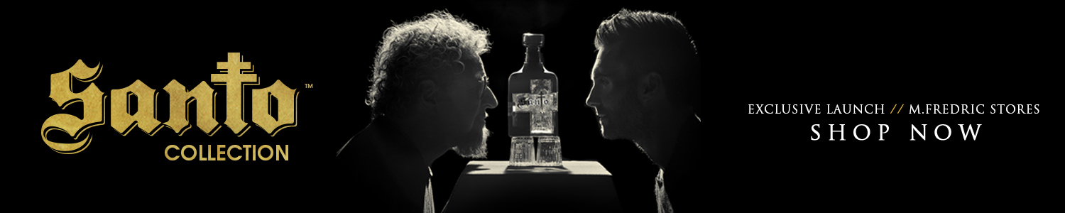Santo Mezquila by Adam Levine & Sammy Hagar. Image Adam & Sammy facing each other over a bottle